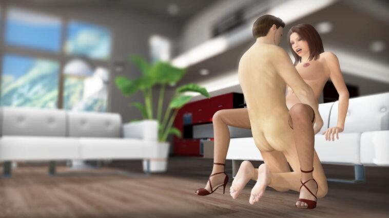 lucky guy fuck horny babe on sofa